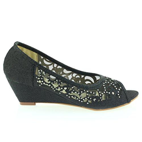 Mujer Señoras Peep Toe Diamante Bajo Tacón de Cuña Noche Fiesta Boda Ponerse Sandalias Zapatos Talla Negro