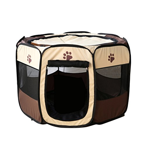 UEETEK Foldable Portable Dog/Cat/Rabbit/Puppy Pet Playpen Exercise Pen Oxford Cloth – Size M (Brown)