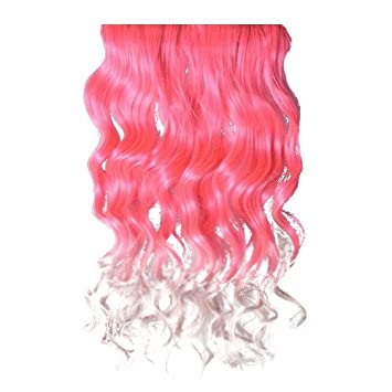 Muti Color One Piece Colorful Hair Extensions Curly Straight Party Bar  **Laptop Parts Store** (Pink to