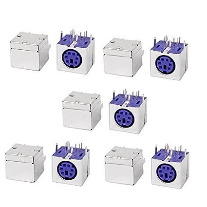 eDealMax 10pcs PS / 2 6P Mini DIN hembra PCB teclado del ratón del zócalo púrpura