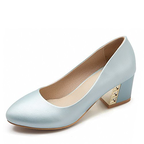 VogueZone009 Women's Pull-on Kitten-Heels PU Solid Pointed Closed Toe Pumps-Shoes Skyblue 11ObF5