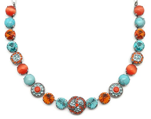Mariana Swarovski Crystal Silver Plated Necklace Orange Aqua Rivoli Mosaic M1079 Serengetti by Mariana