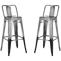 Low Back Indoor and Outdoor Metal Chair Barstool (Pewter) 30-Inch Set of 2