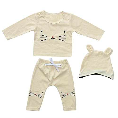 White Kitty Hoodie Hat (Baby Clothes Newborn Tops Pants Hat Kids Cartoon Kitty Embroidered Underwear Outfits Set 3pcs (100))