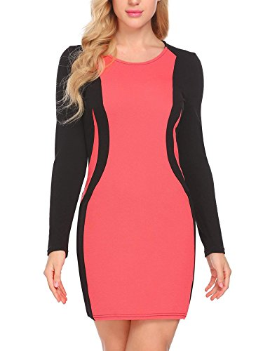 ANGVNS Women's O Neck Long Sleeve Colorblock Optical Illusion Bodycon Pencil Dress Orange Red X-Large
