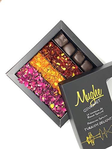 Luxury Turkish Delight Pistachio Assorted 25 pieces, 15 Oz Chocolate, Rose Petal, Saffron, Zereshk, Pomegranate Flavor-Taste Unique ORIGINAL Prestigious Delights Mix Nuts/Gourmet Lokum Gift Box