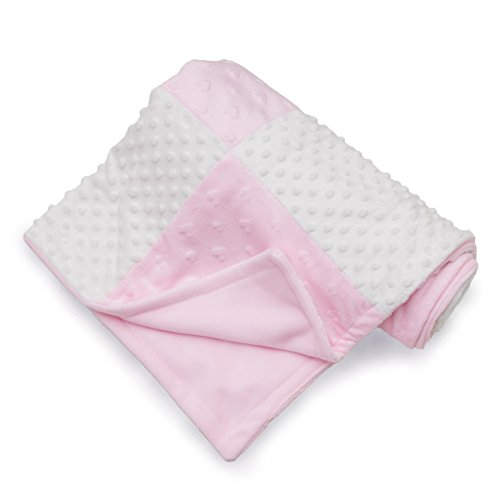 Pink Fleece Minky Baby Blanket by Little Bunny - White Satin Plush Receiving Blankets for Nursery - Bedding for Toddler - Elegant, Soft Sherpa Fabric, Ultra Unique Crib Blankee with Raised Dots