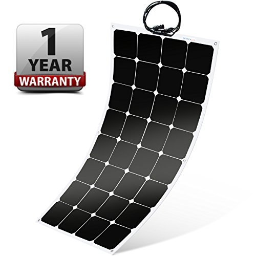 Flush 100w Semi (Winnewsun Flexible Solar Panel,SunPower Solar Panel 100w 18V 12V,Lightweight Flexible Solar Power Panels for RV Boat Truck Car Van Tent)