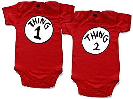 76af0f2e Naughtees clothing - Thing 1 and Thing 2 printed short sleeved babygrow  onesie in 4 sizes: Amazon.co.uk: Clothing