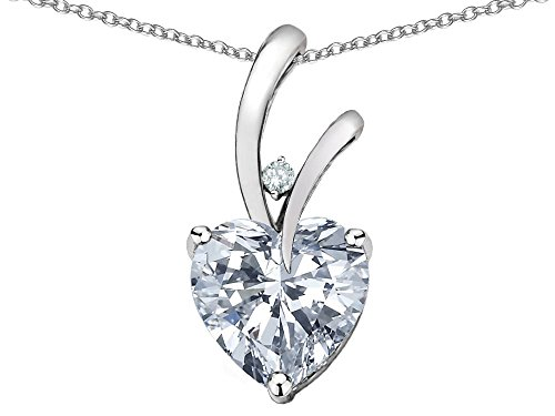 - Star K Heart Shape 8mm Genuine White Topaz Endless Love Pendant Necklace 10 kt White Gold