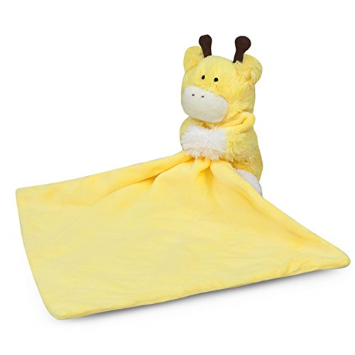 Waddle Unisex Yellow Giraffe Baby Security Blanket Stuffed Animal Newborn Shower Gift Stuffed Rattle Toy Lovey - Trim Bedding Cradle
