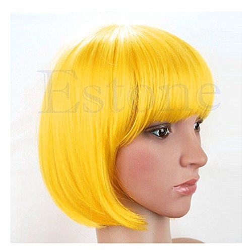 [Kocome Colorful Fashion Sexy Girl Cosplay Party Cute Beauty BOB Style Short Hair Wigs (Yellow)] (70s Beauty Adult Costumes)