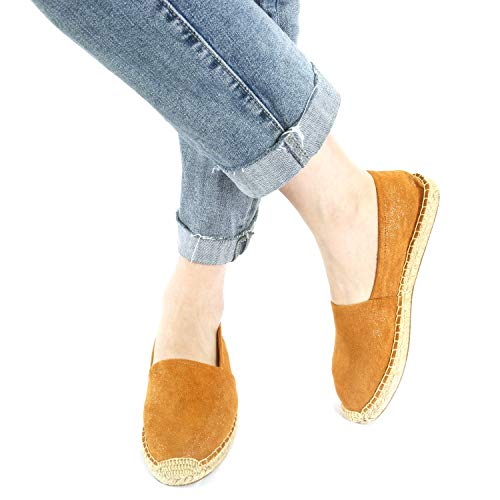 (Espadrille Flats for Women, Slip on Espadrille Loafers Sneakers Shoes Navy Blue Tan Brown Rose Gold Silver Red Ladies Canvas/Faux-Suede Espadrilles for Women(04-9-86 / Brown, US-7))