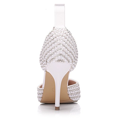 Women's High Beaded Crystal KaDanTing Heels Chain Close Toe with White Sandals Pumps OwgwdxXqa