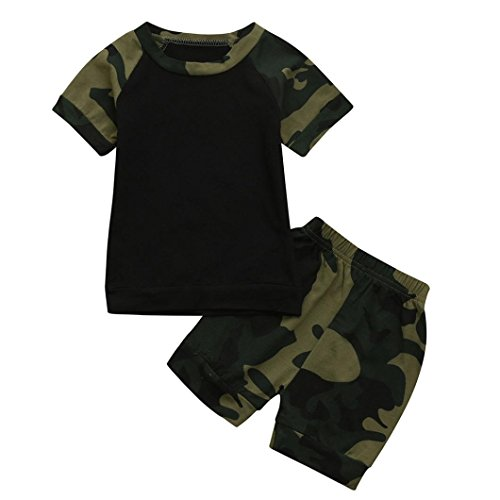 FEITONG Newborn Toddler Baby Camouflage Print T-shirt Tops+Shorts Outfits 2Pcs Clothes Set (3-6M, Black)