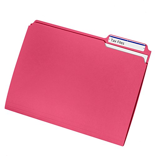 File Folder, 1/3 Cut Tab, Letter Size, Red, Great for organizing and easily file storage, 100 Per Box Photo #4