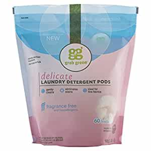 Grab Green Natural Laundry Detergent Pods, Delicate, Fragrance Free, 60 Loads