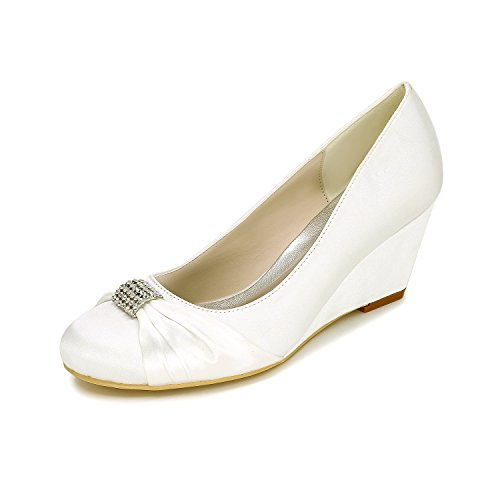 Frauen keil Brautjungfer flachen Mund Hochzeit elegante Schuhe und Heels runden Fuss High Party Veranstaltungsräume satin Qingchunhuangtang Schuhe Schuhe High end's shoes zZ7qXwF