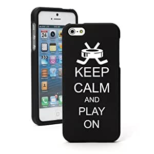 Apple iPhone 5 5S Black Rubber Hard Case Snap on 2 piece Keep Calm and Play On Hockey
