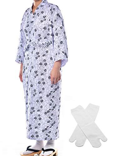 Elibelle Japanese Casual Kimono Traditional Easy Wearing Cotton Yukata Robe for Women with Belt and tabi Socks(006,L) ()