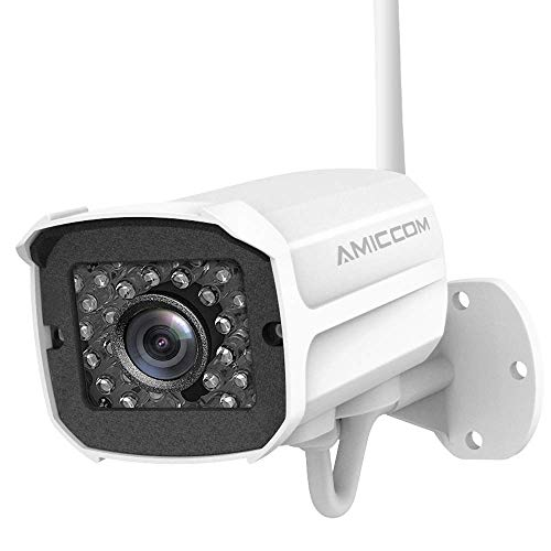 AMICCOM Outdoor Wireless Security Camera- 1080P HD Video Surveillance System – Wireless, Waterproof, IP Night Vision Outdoor Camera with 2-way Audio and iOS, Android Compatibility, Support Max 128GB S