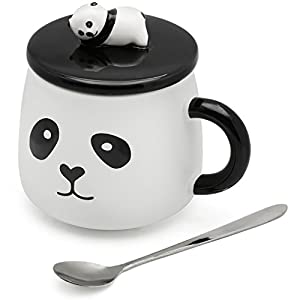 EPFamily Panda Mug 3D Funny Cute White Porcelain Coffee Mugs Set Small Ceramic Tea Cups Black with Lid and Spoon Office Indoor Outdoor 14 Oz