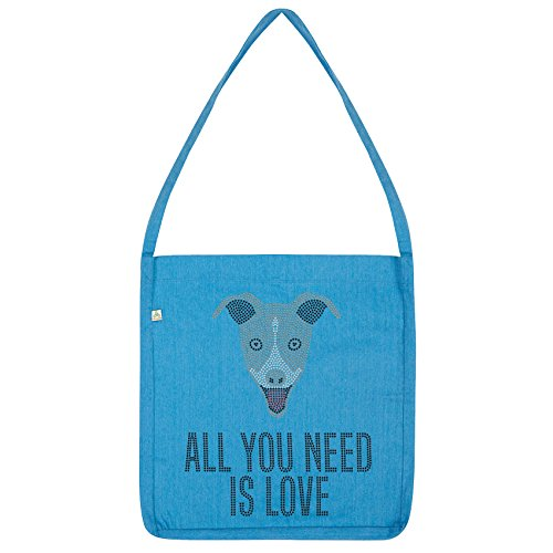 Twisted Envy All You Need is love And A Grey Hound Tote Bag Blue