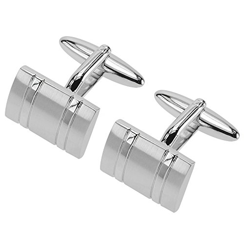 Fine Line Stripe French Cuff - JUST CUFF IT Mens Classic Curved Silver Cufflinks with Two Shinny Lines for Men French Shirt Wedding Business