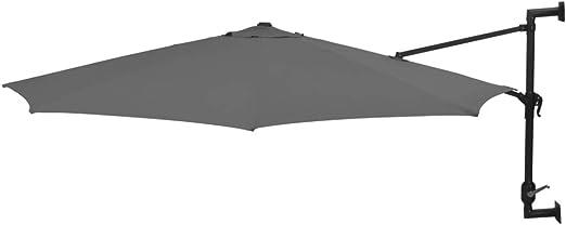 tidyard Sombrilla de Pared de Jardín con 8 Varillas Garden Parasol Parasol de Jardín para Terraza Jardín Playa Piscina Patio,Barra de Metal,Gris Antracita 300x131cm: Amazon.es: Hogar