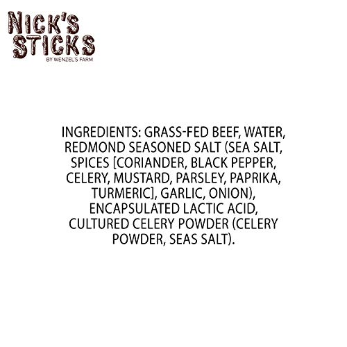 Nick's Sticks 100% Grass-Fed Beef Snack Sticks | Made in the United States | Gluten Free | Paleo, Keto, Whole30 Approved | No Sugar, Soy, Antibiotics or Hormones (12 – .9 ounces. Packages of one Stick)