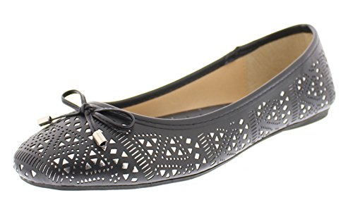 Gold Toe Women's RiRi Metallic Perforated Ballet Flat No Heel Pump Slip On Round Toe Ballerina Dress Shoe Black 11 (Black Ballet Pumps)
