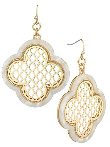 (Women's Filigree Smooth Enamel Clover Cloud Shape Dangle Pierced Earrings, White/Gold-Tone)