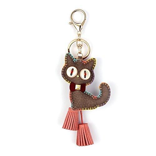 NIKANG Cat Kitty Key Ring Key Chain Key Holder With Tassles Bag Accessories Fashion Item Light Brown