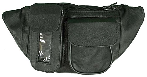 Vance Leather Magnetic Motorcycle Tank Bag/Fanny Pack with Three Pockets