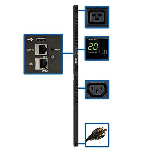 Tripp Lite PDU Switched 3.2-3.8kW 200-240V 20 C13 & 4 C19 LX Platform Interface Vertical 0URM Rack-Mount TAA (PDUMV20HVNETLX)