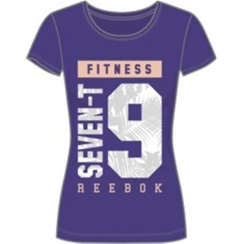 Reebok GR 79 Tee - Camiseta para mujer, color morado / rosa / gris / blanco, talla S
