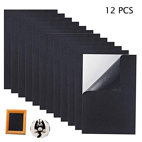 12PCS Black Adhesive Craft Felt Fabric Sheets,8.3 by 11.8 Inch,A4 Size Fabric Sticky Back Sheet for Art Crafts Making,Jewelry Box Liner,Waterproof Furniture Protector