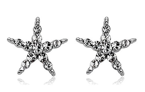 Sw Apple Accents (2018 VALENTINES DAY LOVE ROMANTIC HOLIDAY GIFT 18K White Gold Plated Clear Cubic Zirconia Crystal CZ Star Starfish Stud Earrings for Women)