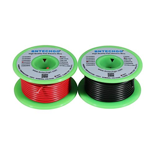 Price comparison product image BNTECHGO 22 AWG 1007 Electric Wire 22 Gauge PVC 1007 Wire Solid Wire Hook Up Wire 300V Solid Tinned Copper Wire Red and Black Each Color 50 ft Per Reel for DIY
