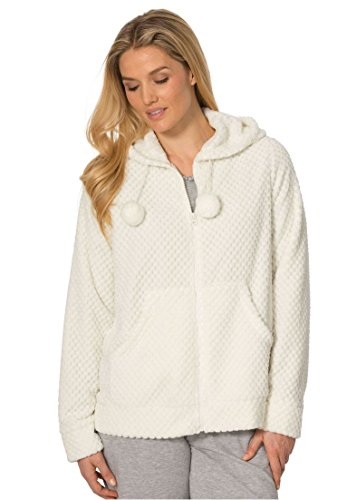 Dreams & Co. Women's Plus Size Plush Hooded Bed Jacket Ivory,1X (Knit Bed Jacket)