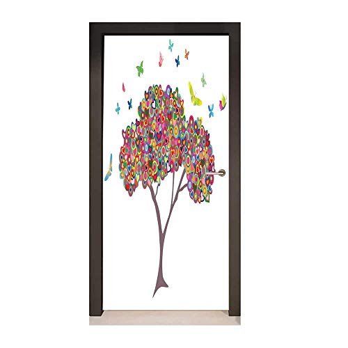 (Tree of Life 3D Door Wallpaper Fashionable Colorful Tree with Butterflies Heart Happiness Love Theme Bloom Summer Life Creative Self-Adhesive Decoration Multi,W23xH70)