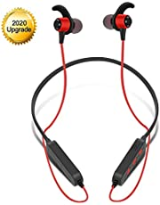 Hanging Earplugs Bluetooth Headphones, Foldable Wireless Bluetooth 5.0 Earphones HD Stereo Bass Waterproof with Noise Cancelling Mic in Ear Sports Earphones with Mic,A