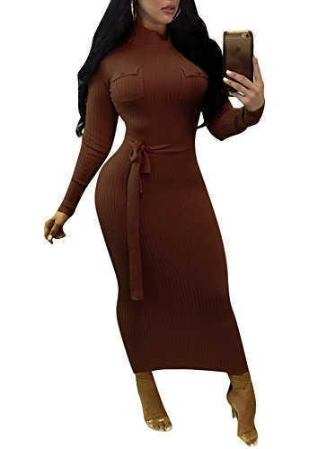 Remelon Womens Turtleneck Front Pockets Long Sleeve Party Cocktail Bodycon Midi Pencil Dress with Belt Brown L