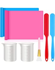 M-Aimee 7 Pieces Silicone Stir Sticks Scraper Epoxy Brushes Set, Include Silicone Mats, Silicone Brushes, Large Silicone Measuring Cups, Silicone Mask Brush, Silicone Resin Mixing Kit for Paint Art DIY Craft