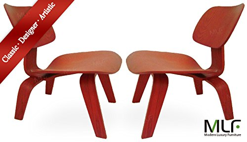 MLF Molded Plywood Lounge Chair (Set of 2), 11-ply Durable Hardwood Seat & Back, 15-ply Solid Legs & Back Brace. Rubber Shock Mounts. Comfortably Fit the Contours of Your Body.(Red)