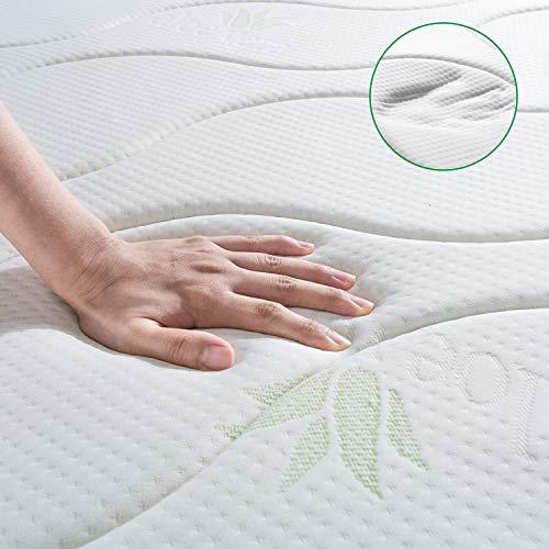 BedStory Colchon Viscoelastico Aloe Vera Colchones para Cama Hotel Viscoelastica Firmeza Media Anti-ácaros e Hipoalergénicos (90x190cm)