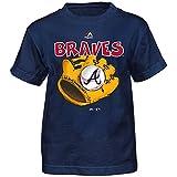 Outerstuff Atlanta Braves Majestic MLB Boys Navy Blue Boy Baseball Mitt T-Shirt