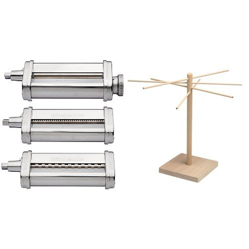 KitchenAid KSMPRA 3 Piece Pasta Roller & Cutter Attachment Set, Silver and Norpro Pasta Drying Rack Bundle