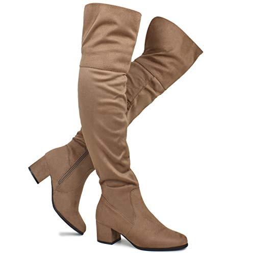(Premier Standard - Women's Over The Knee Stretch Boot - Trendy Low Block Heel Shoe - Sexy Over The Knee Pullon Boot, TPS2019100132 Taupe Su Size 6.5)