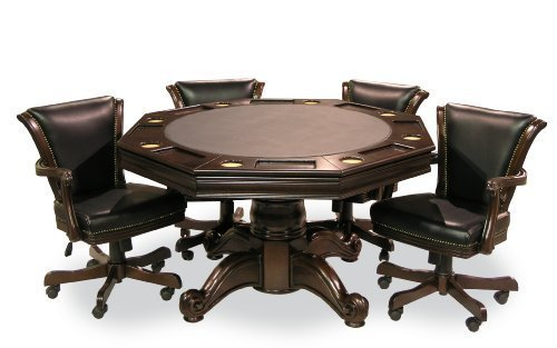 Executive Game Table Set (with 4 Chairs) (Mahogany) (Poker And Table Chairs)